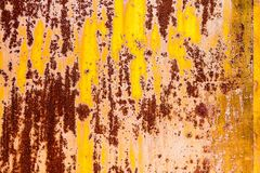 Rusty vintage metallic  yellow brown horizontal background Royalty Free Stock Photography