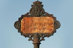 Rusty vintage street sign. Rusty old street sign with blank space for your text Stock Images