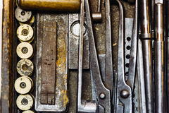 Rusty vintage tools. In a drawer royalty free stock photography