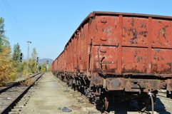 Rusty wagon and railway Royalty Free Stock Image