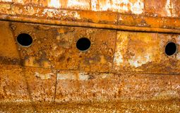 Rusty wall of an abandoned ship Royalty Free Stock Image
