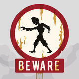 Rusty Warning Zombie Sign, Vector Illustration royalty free stock photography