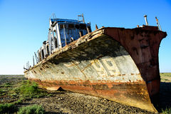 Rusty warship. At the bottom of the dried-up Aral Sea Royalty Free Stock Photos