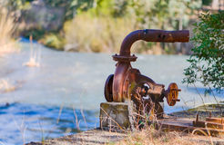 Rusty water pump. On the bank of the Tajo-Segura decanting royalty free stock image