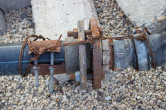Rusty water pump pipe connection joint Stock Photos