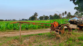 Rusty Water wheel in the rice field Royalty Free Stock Photography