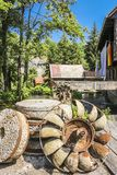 Rusty water wheel at a watermill stock images