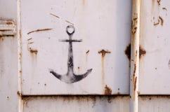 Rusty weathered metal panel graffiti Royalty Free Stock Image