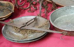 Rusty weighing scale antique goods to the market of vintage thin Stock Images