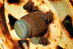 Rusty wheel hub Stock Photos