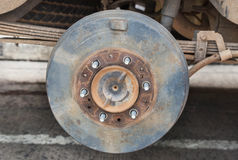 Rusty wheel hub car. Changing wheel tyre of car Stock Images