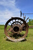 Rusty wheel of an old tractor Stock Image