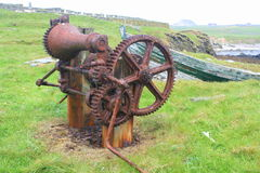 Rusty winch on the coast Royalty Free Stock Images