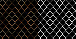 Rusty wire chain link fence Stock Photos