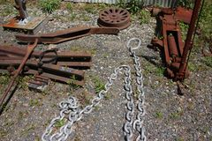 Rusty work stuff and chain Royalty Free Stock Photo