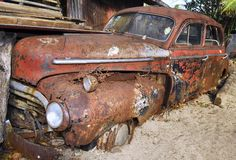 Rusty wrack of a Chevrolet in the Philippines stock image