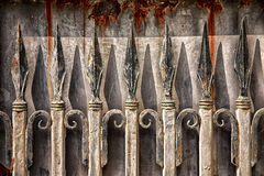 Rusty Wrought Iron Fence Fotografering för Bildbyråer