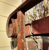 Rusty Wrought Iron Outdoor Stair-Traliewerk Royalty-vrije Stock Afbeeldingen