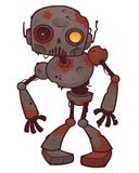 Rusty Zombie Robot. Vector cartoon illustration of a rusty zombie robot with orange eyes vector illustration