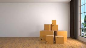 Ruszać się pudełka przy nowym domem ilustracja 3 d Obrazy Royalty Free