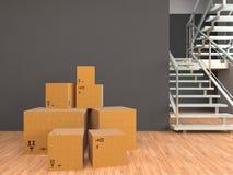 Ruszać się pudełka przy nowym domem ilustracja 3 d Zdjęcia Stock