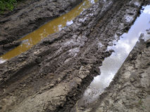 Rut-filled dirt road with puddles Stock Image
