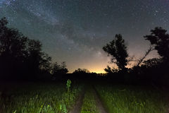 Rut road and Milky Way Galaxy in sky Royalty Free Stock Photography