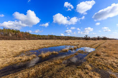 Rut road in steppe at a nice spring day Royalty Free Stock Photos
