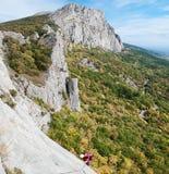 Ruta de Latvia en la montaña de Uarch-Kaya, Crimea. Fotografía de archivo libre de regalías