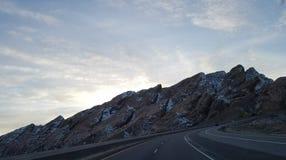 Ruta de los E.E.U.U. de los árboles que conduce el conductor de camión de la forma de vida Fotografía de archivo