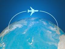 ruta del aeroplano 3d en correspondencia de mundo libre illustration