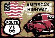 Ruta 66 del vintage Imagenes de archivo