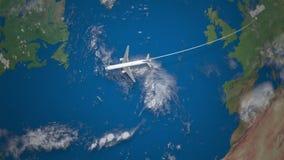 Ruta del vuelo comercial del aeroplano de Berlín a Nueva York en el globo de la tierra stock de ilustración