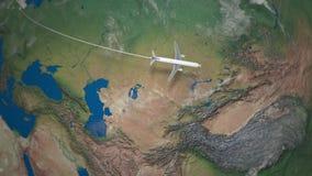 Ruta del vuelo comercial del aeroplano de Berlín a Pekín el globo de la tierra ilustración del vector