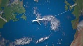 Ruta del vuelo comercial del aeroplano de Londres a Nueva York en el globo de la tierra metrajes