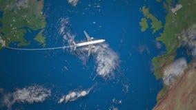 Ruta del vuelo comercial del aeroplano de Nueva York a Berlín en el globo de la tierra almacen de metraje de vídeo