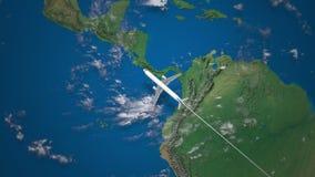 Ruta del vuelo comercial del aeroplano de Rio de Janeiro a Los Ángeles en el globo de la tierra ilustración del vector