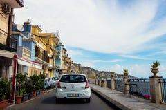 Ruta escénica de Giardini Naxos, Sicilia Imágenes de archivo libres de regalías