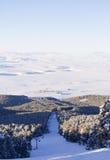 Ruta negra del esquí en Sarikamis Fotos de archivo libres de regalías