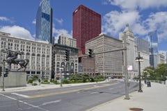 Ruta verde del congreso en el bucle de Chicago Imagen de archivo libre de regalías