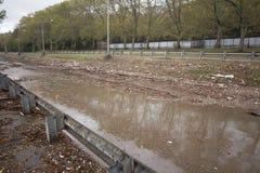 Ruta verde inundada por Hurricane Sandy, Manhattan Foto de archivo libre de regalías