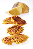 Rutabaga fritters, rutabaga in background Stock Photography
