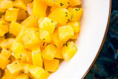 Rutabaga side dish. Side dish of rutabaga.  The rutabaga, swede turnip, yellow turnip, or neep is a root vegetable that originated as a cross between the cabbage Royalty Free Stock Photography