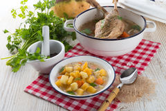 Rutabaga soup with goose meat Stock Photo