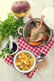 Rutabaga soup with goose meat Stock Photography