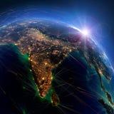 Rutas de aire detalladas en la tierra La India representaci?n 3d libre illustration