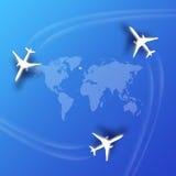 Rutas de la aviación Fotos de archivo libres de regalías