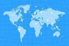 Rutas de la línea aérea en infographic mundial del mapa, azul y blanco ilustración del vector