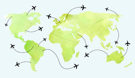 Rutas del aeroplano en mapa del mundo Fotografía de archivo