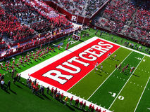 Rutgers Stadium. A view of Rutgers football stadium in Piscataway,NJ. Rutgers fans in red and Stock Photo